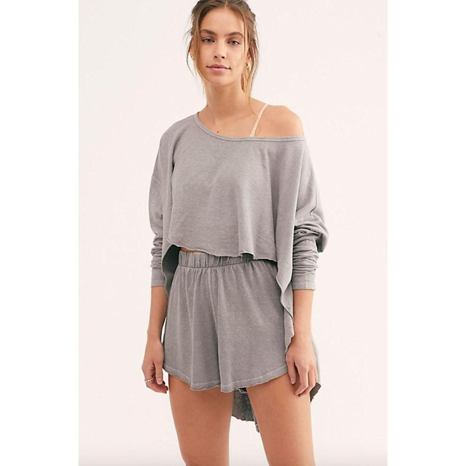 """<p>The laid-back, flowy fit and the cotton-hemp blend of this sweatshirt and shorts set from Free People will make you <em>never</em> want to take it off. Wear it for at-home workouts, lounging on the couch, cooking — whatever your little heart desires.</p> <p><strong>Sizes available:</strong> XS to XL</p> <p><strong>$88</strong> (<a href=""""https://click.linksynergy.com/deeplink?id=MZ9491VLjxM&mid=43177&u1=allurebestloungewear&murl=https%3A%2F%2Fwww.freepeople.com%2Fshop%2Fthrow-and-go-set%2F"""" rel=""""nofollow noopener"""" target=""""_blank"""" data-ylk=""""slk:Shop Now"""" class=""""link rapid-noclick-resp"""">Shop Now</a>)</p>"""