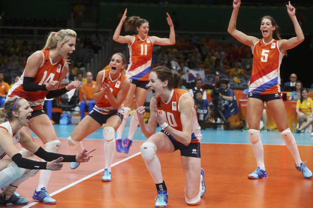 <p>2016 Rio Olympics – Volleyball – Women's Quarterfinals – South Korea v Netherlands – Maracanazinho – Rio de Janeiro, Brazil -16/08/2016. Dutch players celebrate. REUTERS/Pilar Olivares TPX IMAGES OF THE DAY. FOR EDITORIAL USE ONLY. NOT FOR SALE FOR MARKETING OR ADVERTISING CAMPAIGNS. – RTX2L8DK </p>