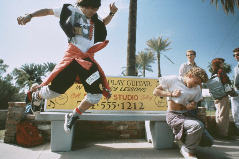 "Keanu Reeves and Alex Winter act on the set of the 1989 movie ""Bill and Ted's Excellent Adventure."" (Photo: Twitter)"