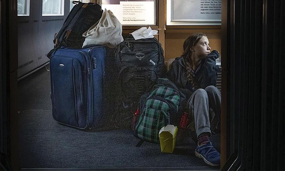 Thunberg's picture showed her sitting on the floor of an 'overcrowded' train.