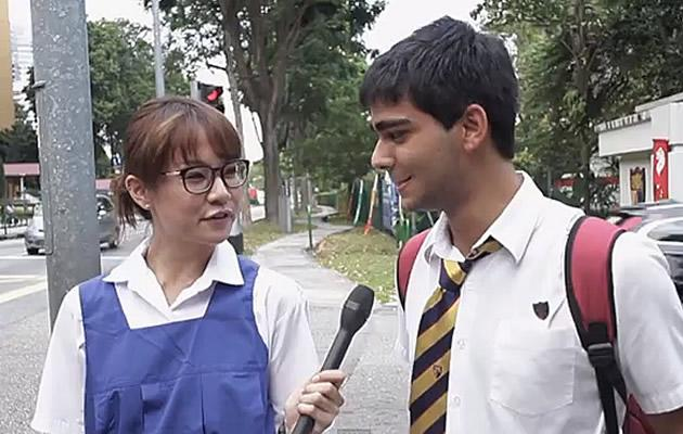 Local artiste Jade Seah interviews students about girls' school uniforms. (YouTube screengrab)