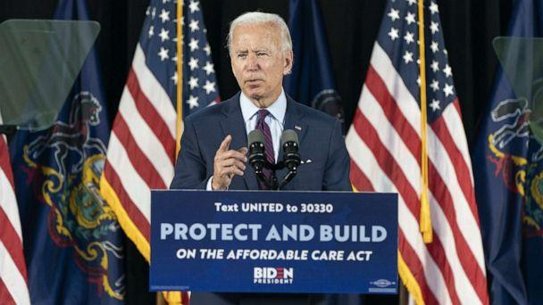 PHOTO: Democratic presidential candidate former Vice President Joe Biden speaks during an event about affordable health care at the Lancaster Recreation Center on June 25, 2020, in Lancaster, Pa. (Joshua Roberts/Getty Images)