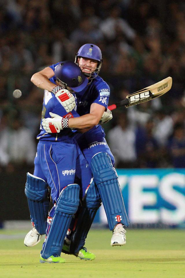 Stuart Binny and James Faulkner celebrate the victory during match 40 of the Pepsi Indian Premier League ( IPL) 2013  between The Rajasthan Royals and the Royal Challengers Bangalore held at the Sawai Mansingh Stadium in Jaipur on the 29th April 2013. (BCCI)