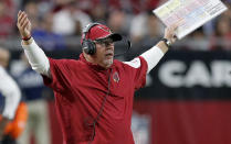 Arizona Cardinals head coach Bruce Arians reacts during the second half of an NFL football game against the Detroit Lions, Sunday, Nov. 16, 2014, in Glendale, Ariz. (AP Photo/Ross D. Franklin)