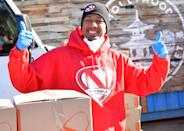 <p>Nick Cannon helps HollyGold and restaurant Yamashiro Hollywood donate 2,000 meals to people in need on Tuesday in Los Angeles. </p>