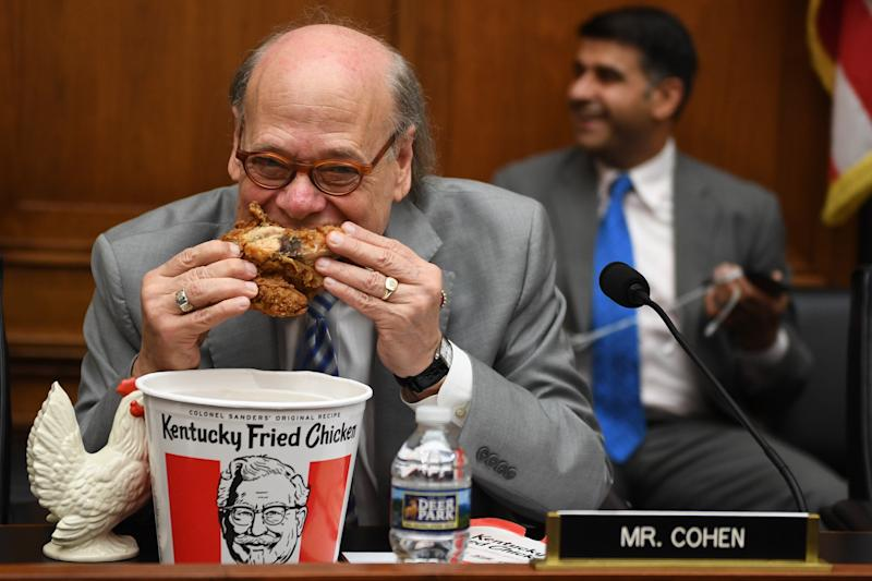 Rep. Steve Cohen, D-Tenn., eats chicken as during a hearing before the House Judiciary Committee on Capitol Hill in Washington, D.C., on Thursday. (Jim Watson/AFP/Getty Images)