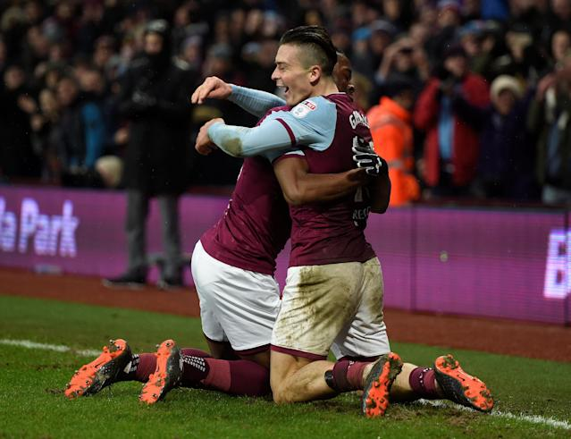 "Soccer Football - Championship - Aston Villa vs Burton Albion - Villa Park, Birmingham, Britain - February 3, 2018 Aston Villa's Jack Grealish celebrates scoring their third goal Action Images/Alan Walter EDITORIAL USE ONLY. No use with unauthorized audio, video, data, fixture lists, club/league logos or ""live"" services. Online in-match use limited to 75 images, no video emulation. No use in betting, games or single club/league/player publications. Please contact your account representative for further details."