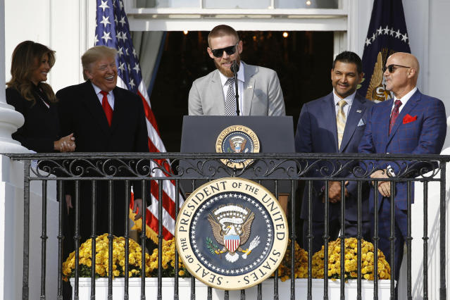 Stephen Strasburg wants the world to know he definitely didn't leave President Trump hanging. (AP Photo/Patrick Semansky)