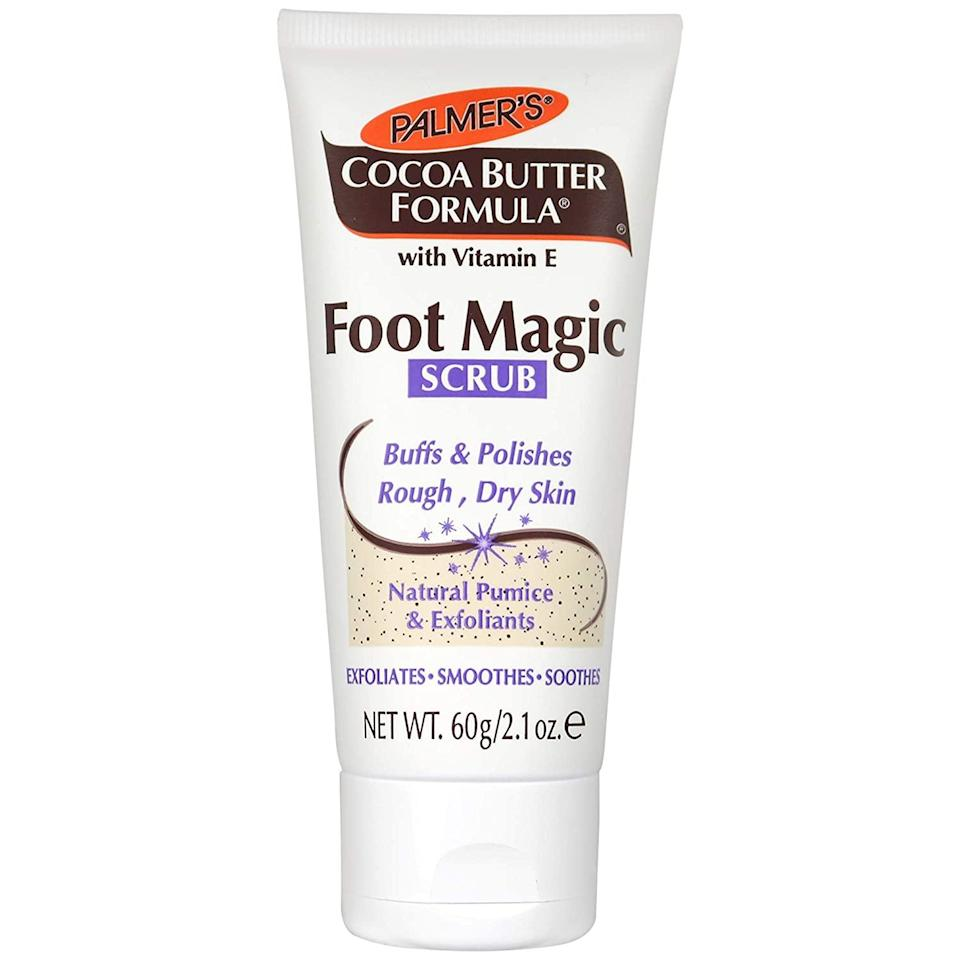 """<p>Mona Gohara, a board-certified dermatologist and Yale associate clinical professor, stands by a classic to keep her feet in top (and smooth) shape: Palmer's Cocoa Butter Foot Magic Scrub. In fact, she also used Palmer's on her belly <a href=""""https://www.allure.com/gallery/best-pregnancy-skin-care-products?mbid=synd_yahoo_rss"""" rel=""""nofollow noopener"""" target=""""_blank"""" data-ylk=""""slk:during two pregnancies"""" class=""""link rapid-noclick-resp"""">during two pregnancies</a> — which is a testament to how gentle the brand's tried-and-true <a href=""""https://www.allure.com/story/vitamin-e-skin-care?mbid=synd_yahoo_rss"""" rel=""""nofollow noopener"""" target=""""_blank"""" data-ylk=""""slk:vitamin E-infused formulas"""" class=""""link rapid-noclick-resp"""">vitamin E-infused formulas</a> are. The foot mask, in particular, is """"a perfect blend of scrubbing and softening,"""" Gohara says. """"The shea and cocoa butters leave your soles smooth as silk, now and later.""""</p> <p><strong>$4</strong> (<a href=""""https://www.amazon.com/Palmers-Cocoa-Butter-Vitamin-Magic/dp/B0081C2I22"""" rel=""""nofollow noopener"""" target=""""_blank"""" data-ylk=""""slk:Shop Now"""" class=""""link rapid-noclick-resp"""">Shop Now</a>)</p>"""