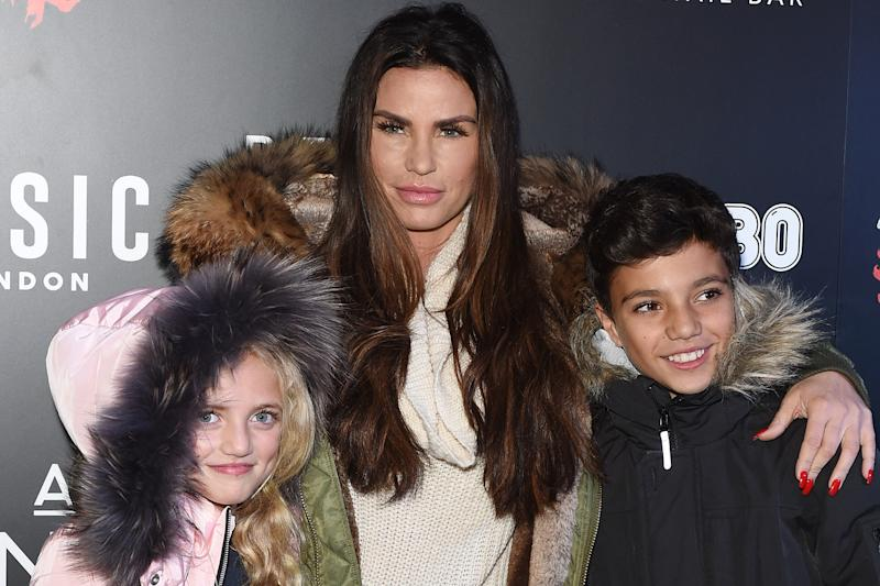 Hitting back: Katie Price with Princess and Junior: Getty Images