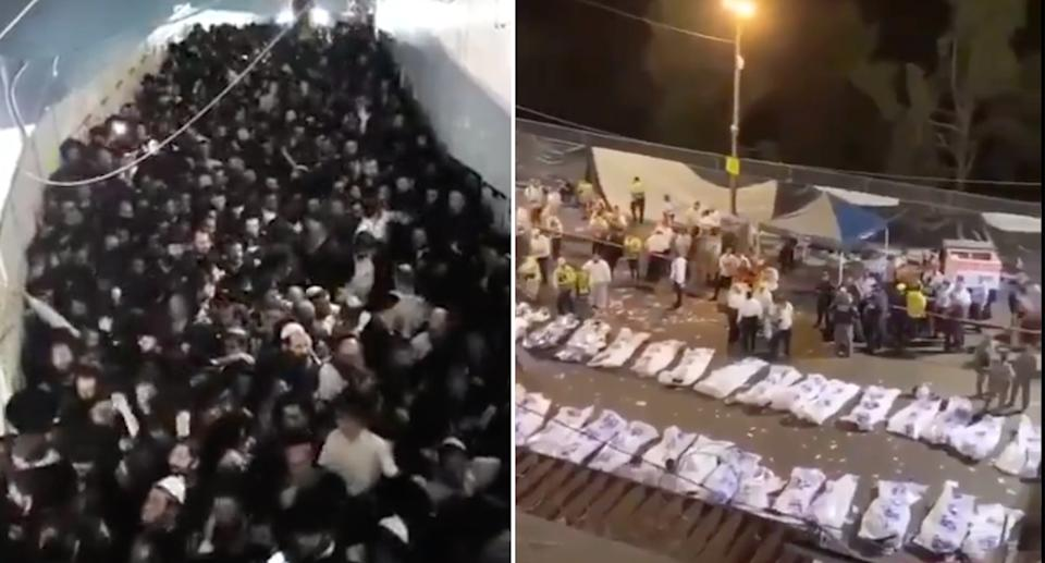 A crowd at the Jewish bonfire festival in northern Israel on the left. Pictured right are bodies laid out in the aftermath of the incident.