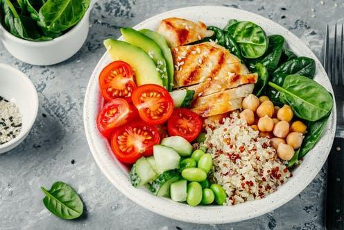 """<span class=""""caption"""">Many dietary guidelines fail to define what """"variety"""" means.</span> <span class=""""attribution""""><a class=""""link rapid-noclick-resp"""" href=""""https://www.shutterstock.com/image-photo/buddha-bowl-spinach-salad-quinoa-roasted-1055353403"""" rel=""""nofollow noopener"""" target=""""_blank"""" data-ylk=""""slk:Ekaterina Kondratova/ Shutterstock"""">Ekaterina Kondratova/ Shutterstock</a></span>"""