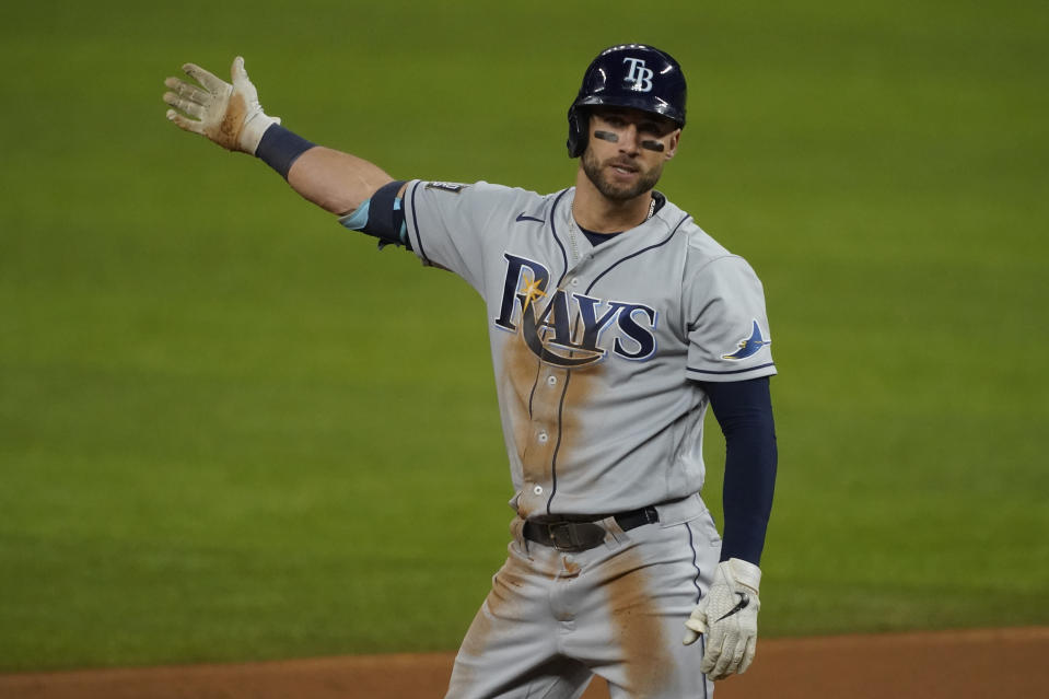 Tampa Bay Rays' Kevin Kiermaier reacts after his double against the Los Angeles Dodgers during the second inning in Game 6 of the baseball World Series Tuesday, Oct. 27, 2020, in Arlington, Texas. (AP Photo/Tony Gutierrez)