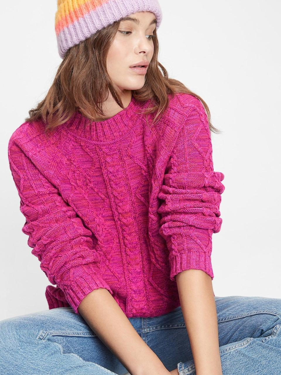 <p>We love the rich pink of this <span>Gap Cable Knit Crewneck Sweater</span> ($42, originally $60). Perfect for cozy nights by the fire. </p>