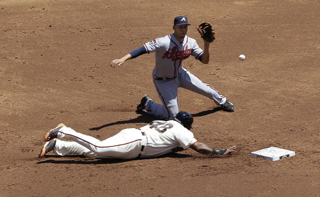 San Francisco Giants' Pablo Sandoval (48) slides into second base to beat a pick-off attempt by Atlanta Braves pitcher Julio Teheran to shortstop Andrelton Simmons, rear, during the first inning of a baseball game in San Francisco, Wednesday, May 14, 2014. (AP Photo)