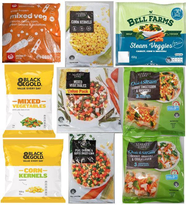 Food Standards Australia New Zealand has named 10 frozen vegetable products which pose a listeria risk.