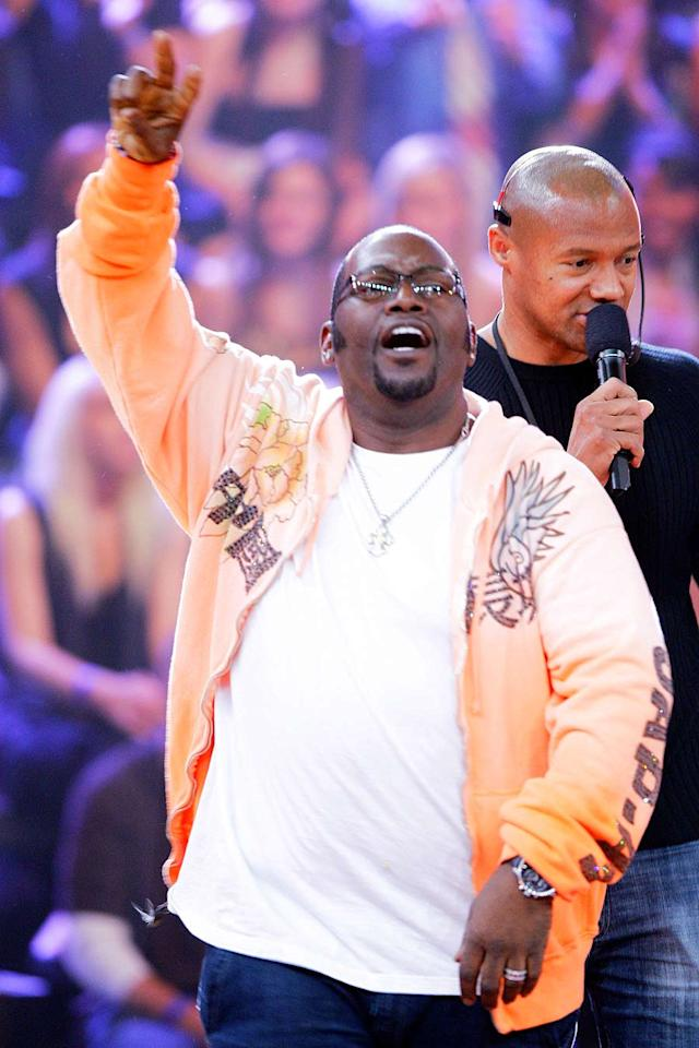 """The master of ceremonies, <a href=""""/randy-jackson/contributor/541872"""">Randy Jackson</a>, salutes his rabid dog pound minutes before the cameras roll. The 51-year-old -- sporting a wild hoodie and plenty of ice -- certainly looks fly for his age."""