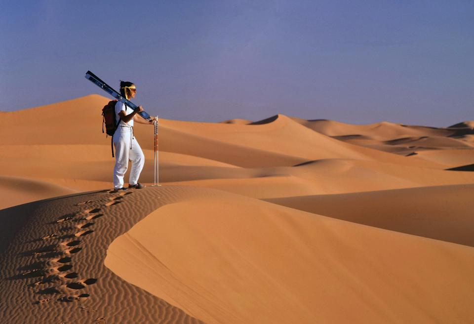 Skiing isn't what you'd expect in Algeria. Instead of snow, the sport is done on sand dunes in the Sahara Desert. Going down is the thrill of a lifetime, but getting back up the dune to do it all over again is the challenge; sadly, there are no chair lifts (yet).