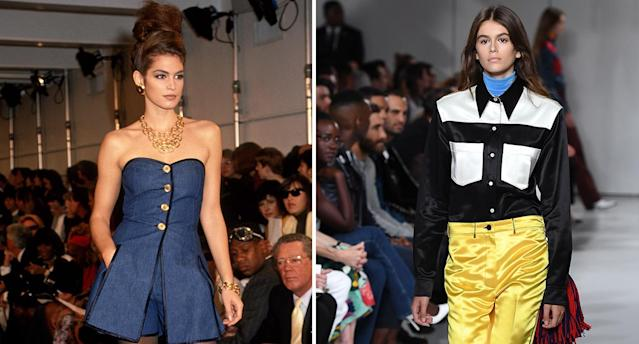Cindy Crawford in 1991, making her runway debut for Donna Karan; Kaia Gerber walking for Calvin Klein on Thursday. (Photo: Getty Images)