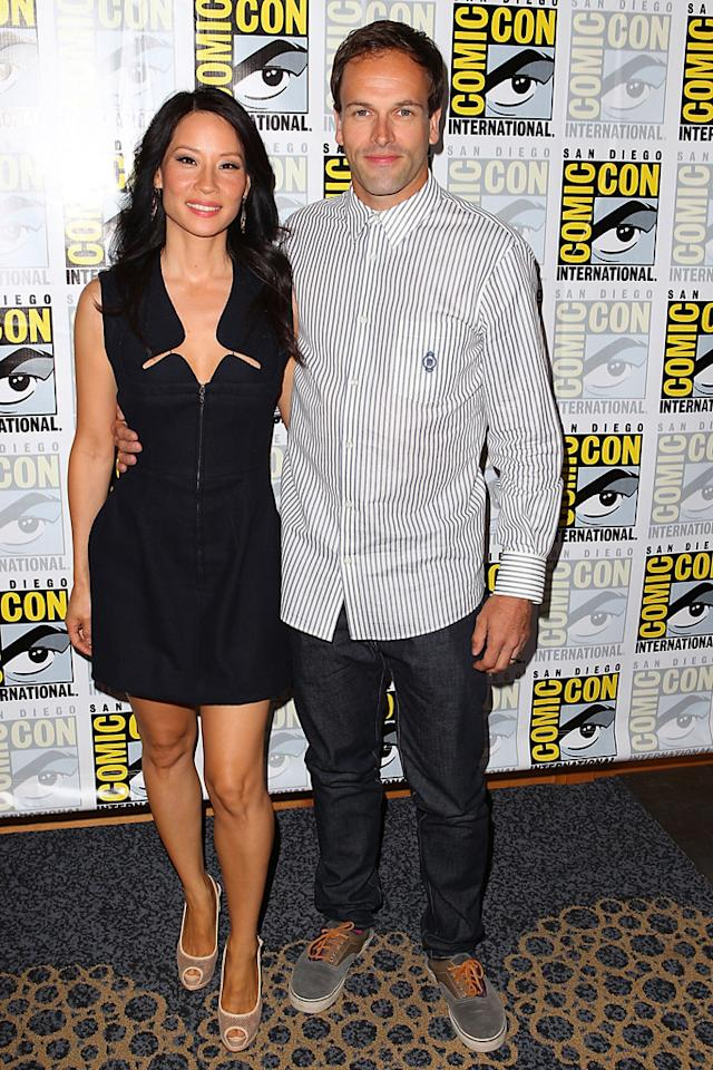 """Lucy Liu and Jonny Lee MIller (""""Elementary"""") at Comic-Con International on July 12, 2012 in San Diego, California."""