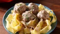 "<p>Insanely delicious creamy meatballs, no trip to Ikea required.</p><p>Get the recipe from <a href=""https://www.delish.com/cooking/recipe-ideas/recipes/a49620/easy-swedish-meatballs-recipe/"" rel=""nofollow noopener"" target=""_blank"" data-ylk=""slk:Delish"" class=""link rapid-noclick-resp"">Delish</a>.</p>"