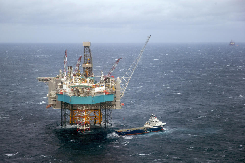 FILE - In this Feb. 16, 2016 file photo, a view of a supply ship at the Edvard Grieg oil field, in the North Sea. North Sea oil and gas has helped make Norway one of the wealthiest countries in the world. But as Norwegians head to the polls on Monday, Sept. 13, 2021, fears about climate change have put the future of the industry at the top of the campaign agenda. (Hakon Mosvold Larsen, NTB scanpix via AP, File)