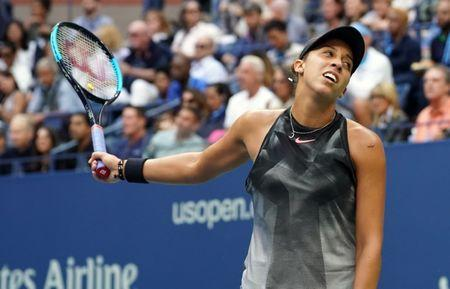 Sept 9, 2017; New York, NY, USA; Madison Keys of the USA after a miss to Sloan Stephens of the USA in the Women's Final in Ashe Stadium at the USTA Billie Jean King National Tennis Center. Mandatory Credit: Robert Deutsch-USA TODAY Sports