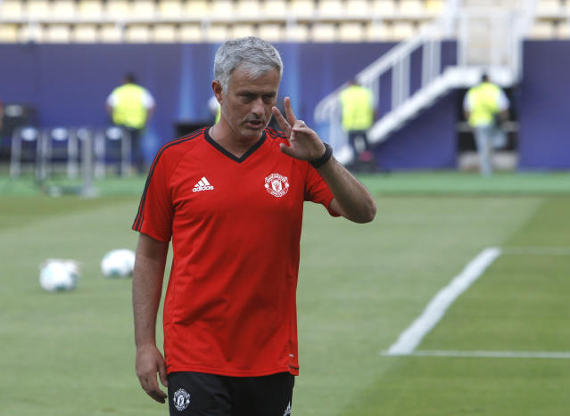 Manchester United's manager Jose Mourinho gestures during a training session