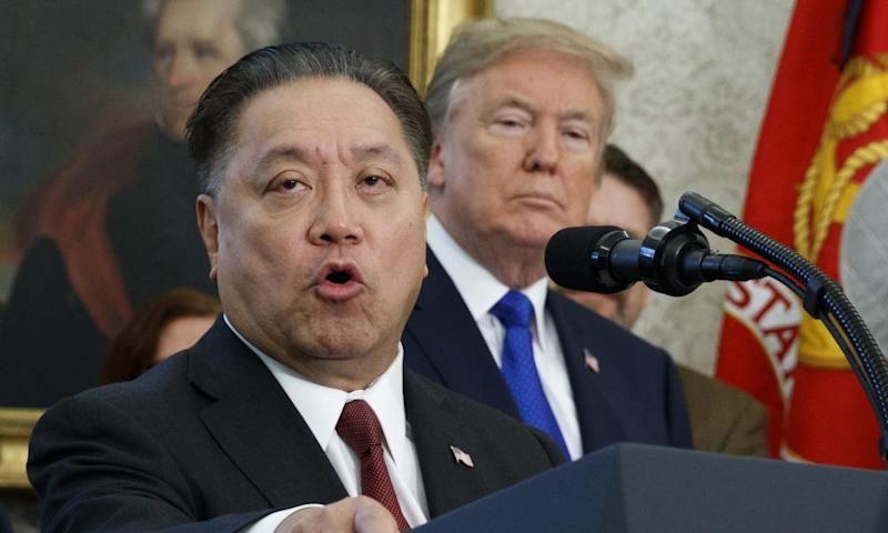 The Broadcom CEO Hock Tan speaks while Donald Trump listens at the White House in November.