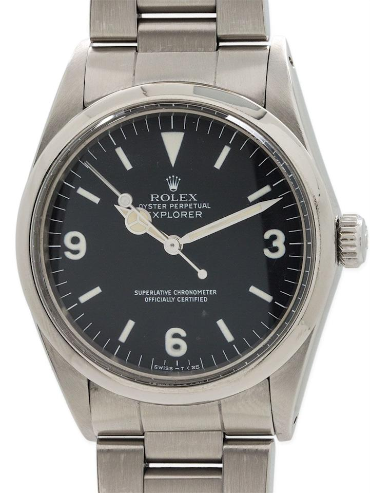"""<p><a class=""""body-btn-link"""" href=""""https://www.watches-of-switzerland.co.uk/Pre+Owned-Rolex-Explorer-Mens-Watch-1016/0/p/406102290490/"""" target=""""_blank"""">SHOP</a></p><p>Sitting somewhere between a sports and a dress watch, the Explorer 1016 was in production for almost 30 years before being retired in 1989. As the name suggests it was made for explorers, and comes equipped with Paraflex shock absorbers to give it a higher shock resistance. But it's really all about the handsomely proportioned dial, with its period detail numerals and matte finish. Ian Fleming owned a Ref 1016.</p><p>Around £11,550; <a href=""""https://www.watches-of-switzerland.co.uk/Pre+Owned-Rolex-Explorer-Mens-Watch-1016/0/p/406102290490/"""">watches-of-switzerland.co.uk</a></p>"""