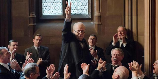 """On paper, """"Darkest Hour"""" is another staid period piece about wartime politics. In reality, it's an electricdetonator, more invigorating by the moment. Much of that is due to Gary Oldman, who was anointed the one to beat after the movie premiered at the Telluride and Toronto film festivals. His work as Winston Churchill is just what the academy loves: It's immersive and transcendent in an incredibly mannered, dutiful way. He traipses and stutters and delivers monologues that can be weaponized as analogies for our current political tumult. As of now, it's on every other candidate in this contest to up their ante. Otherwise, Oldman, who has but one nomination to his name, will prevail."""