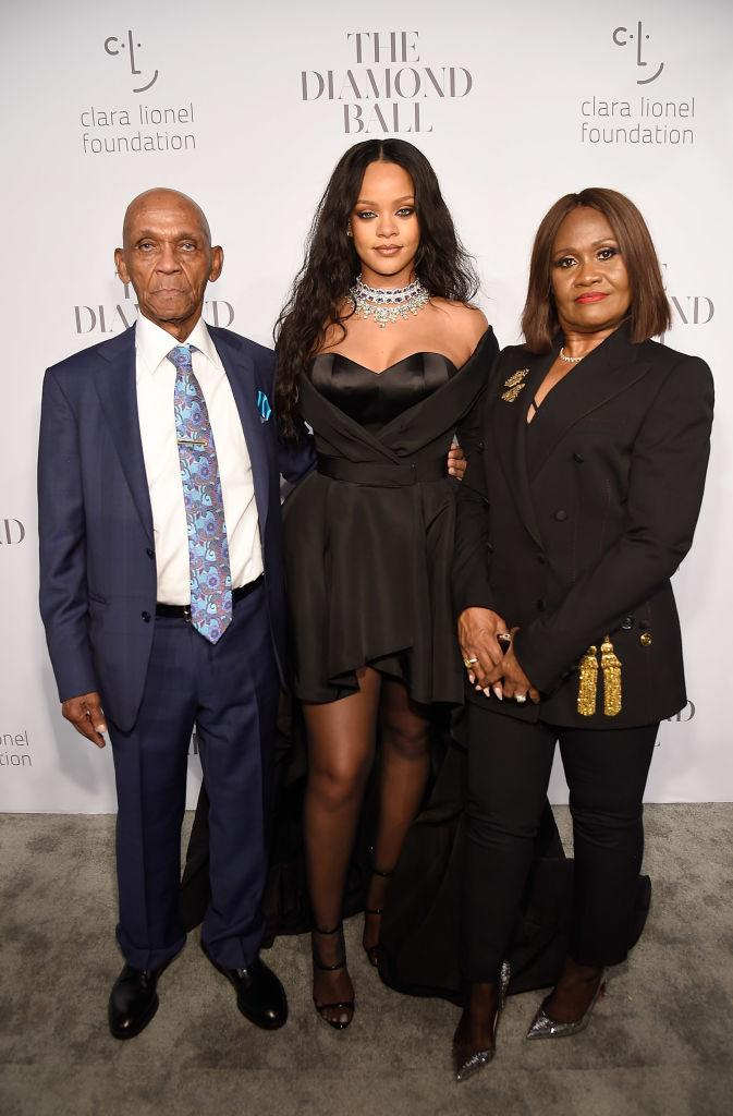 Lionel Braithwaite, Rihanna and Monica Braithwaite attend Rihanna's 3rd Annual Diamond Ball Benefitting The Clara Lionel Foundation at Cipriani Wall Street on September 14, 2017 in New York City. (Photo by Kevin Mazur/Getty Images for Clara Lionel Fo)