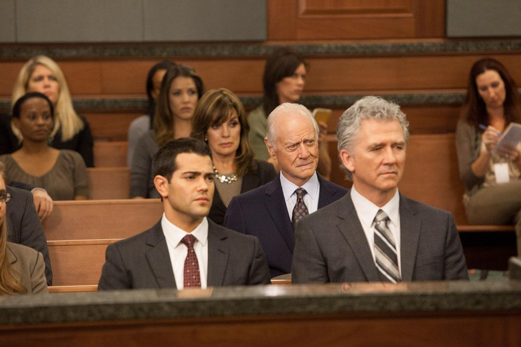 "Julie Gonzalo, Linda Gray, Larry Hagman, Jesse Metcalfe and Patrick Duffy in the ""Dallas"" Season 2 episode, ""Trial and Error."""