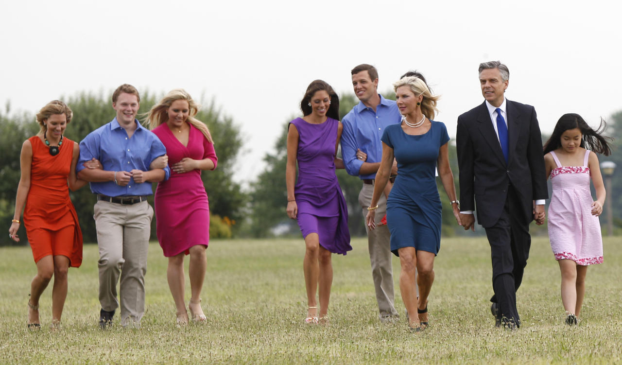 Former Utah Gov. Jon Huntsman, second from right, walks with his family at Liberty State Park in Jersey City, N.J., Tuesday, June 21, 2011, before announcing his bid for the 2012 Republican presidential nomination. (AP Photo/Mel Evans)