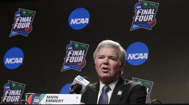 NCAA president Mark Emmert has made the decision to cancel the men's and women's basketball tournaments. (AP Photo/Matt York, File)