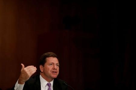 FILE PHOTO: Jay Clayton, Chairman of the Securities and Exchange Commission, testifies at a Senate Banking hearing on Capitol Hill in Washington, U.S. September 26, 2017. REUTERS/Aaron P. Bernstein/File Photo