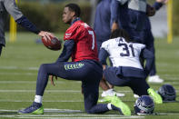 Seattle Seahawks backup quarterback Geno Smith (7) stretches before NFL football practice, Wednesday, Oct. 13, 2021, in Renton, Wash. Starting quarterback Russell Wilson had surgery on his hand last Friday, and Smith is expected to be the starting quarterback Sunday when the Seahawks play the Pittsburgh Steelers on the road. (AP Photo/Ted S. Warren)