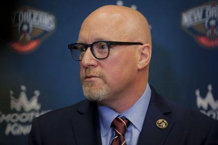 FILE PHOTO: Apr 17, 2019; New Orleans, LA, USA; New Orleans Pelicans Executive Vice President of Basketball Operations David Griffin during an introductory press conference at the New Orleans Pelicans facility. Mandatory Credit: Derick E. Hingle-USA TODAY Sports