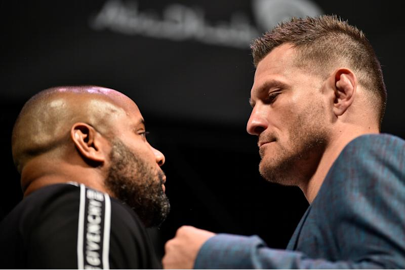 LAS VEGAS, NEVADA - JULY 05: (R-L) Stipe Miocic and Daniel Cormier face off during the UFC seasonal press conference at T-Mobile Arena on July 5, 2019 in Las Vegas, Nevada. (Photo by Chris Unger/Zuffa LLC/Zuffa LLC via Getty Images)