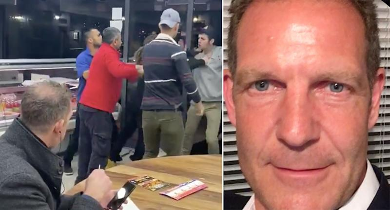 Chris Hill, bottom left, and right, kept eating his kebab and chips during a brawl (Pictures: @xbethdeakin/Twitter/LinkedIn)