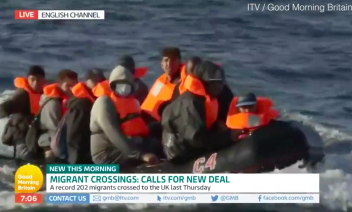 A boat filled with migrants was filmed crossing the English Channel by Good Morning Britain (ITV/GMB)