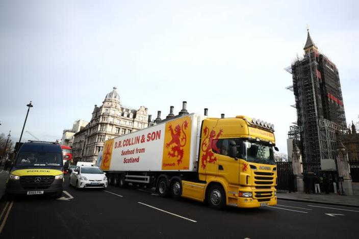 Seafood lorries protest at the Parliament Square in London