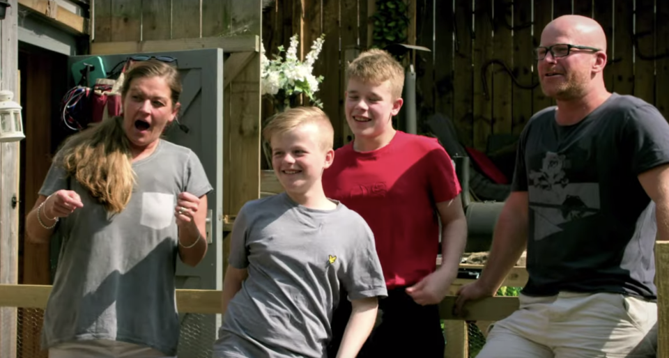 Pictured are mum Dawn, her husband, John, and their two sons, Max and Sam. Source: Channel 4/Youtube