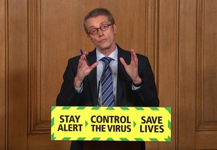 Screen grab of Professor Peter Horby, Chair of the UK government's New and Emerging Respiratory Virus Threats Advisory Group during a media briefing in Downing Street, London, on coronavirus (COVID-19).