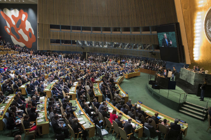 President Trump speaks during the 72nd session of the United Nations General Assembly. Notable absentees included Russian President Vladimir Putin and German Chancellor Angela Merkel. (AP Photo/Mary Altaffer)