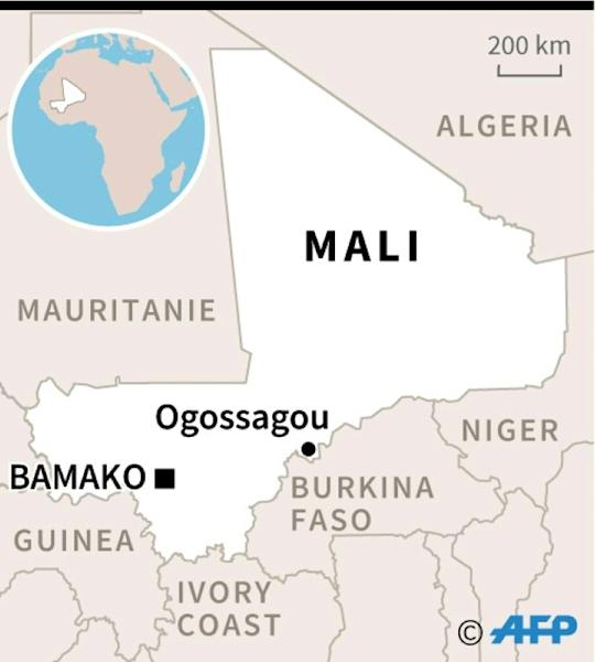 Map locating the village of Ogossagou, where over 100 people were killed in a massacre on Saturday