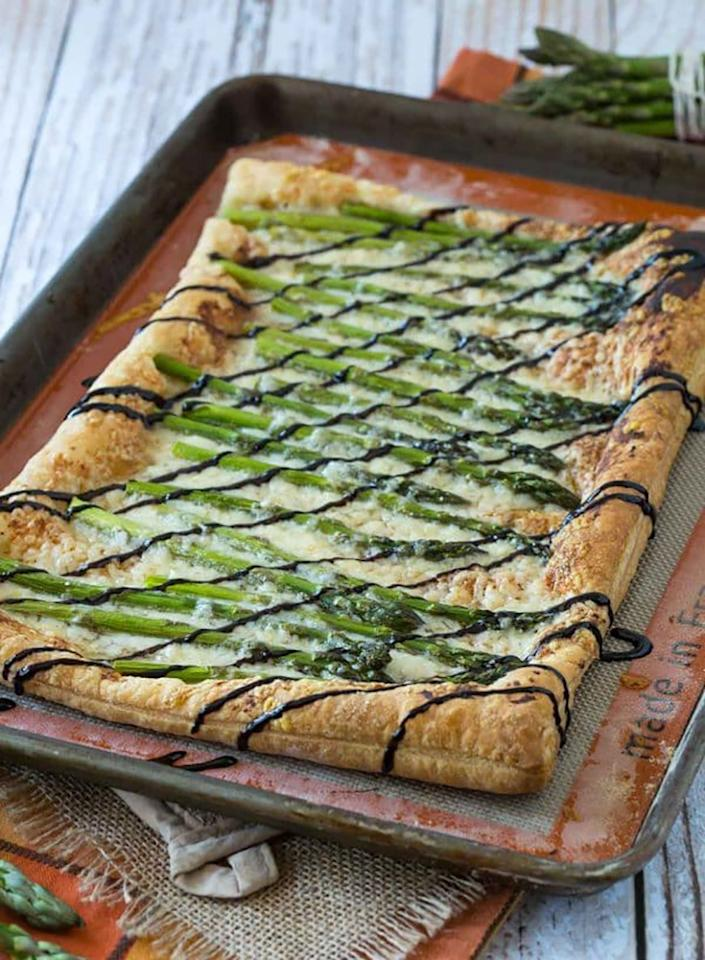 "<p>This tart is <em>so</em> good and <em>so</em> easy. In fact, it only calls for five ingredients: store-bought puff pastry, Djion mustard, asparagus, gruyère cheese, and balsamic vinaigrette. Get the recipe <a rel=""nofollow"" href=""http://www.rachelcooks.com/2016/05/09/asparagus-gruyere-tart-with-balsamic-glaze?mbid=synd_yahoofood"">here</a>.</p>"