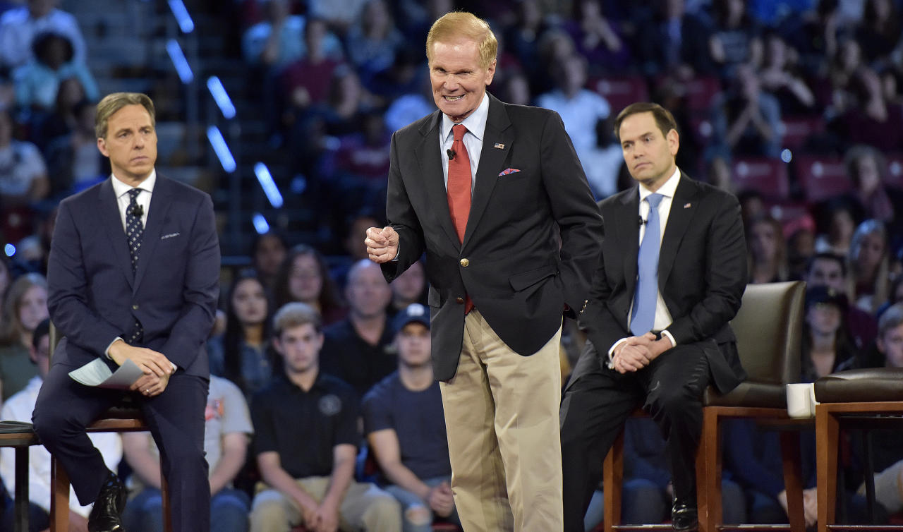 Sen. Bill Nelson asks for assault rifles to be removed from the streets during a CNN town hall meeting, Wednesday, Feb. 21, 2018, at the BB&T Center, in Sunrise, Fla. (Michael Laughlin/South Florida Sun-Sentinel via AP)