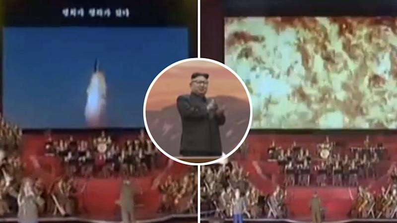 Kim Jong-un was pictured cheering as the video simulation showed a US city being destroyed by a North Korea nuclear missile.