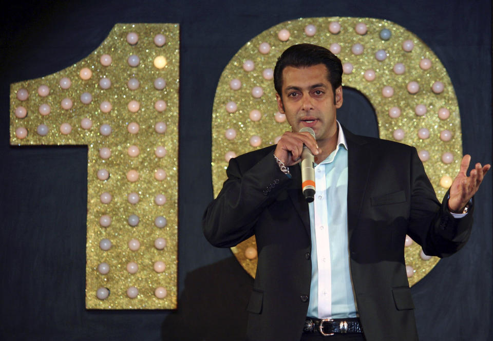 Bollywood actor Salman Khan speaks to the media at a party held by Sony Entertainment Television India to showcase his forthcoming show